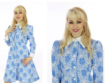 60s Floral Dress Blue White Sixties Mod Vintage Cute Buttons Fall Dress A-line 1960s 70s 1970s Small S Medium M