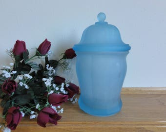 """Blue Satin Glass Apothocary/Biscuit Jar with Lid, Indiana glass, 10"""" Tall, Fenton? Art Glass, Heavy Satin Glass Collectible #786"""