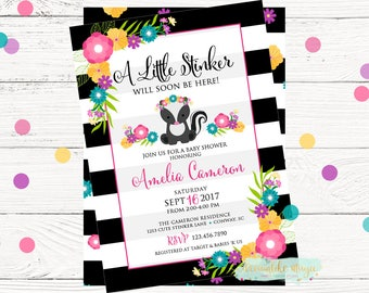 Little Stinker Invite, Baby Shower Invitation, Skunk Baby Shower, Woodland Shower, Boho Baby Shower, Printable Invite, Baby Girl Shower