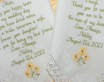 Embroidered Wedding Handkerchiefs, Sunflowers for Mom, Springtime Sunflowers, Wedding Theme Sunflowers, Gift for mom, by Canyon Embroidery
