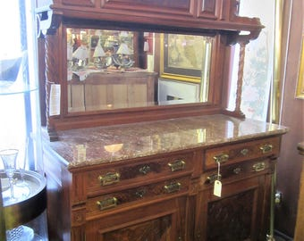 American Walnut and Pink Marble High Eastlake style Buffet
