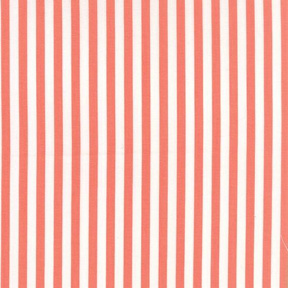 Corey Yoder Little Miss Shabby Coral Prairie Stripe Quilt Fabric. 29006-24
