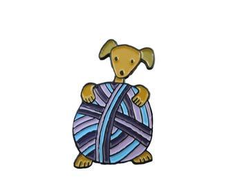 Dog and Yarn Gift -  Dog Enamel Pin