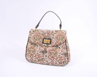 1960s Large Tapestry Handbag - Carpet Bag - Colorful Tapestry Purse // 60s Rust Orange Black / Novelty Print Birds