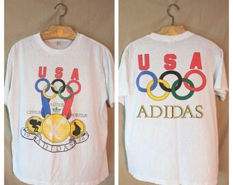 80S 1988 ADIDAS USA Olympics t shirt size Large Rings paper thin Rare