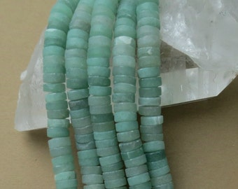 Matte Aventurine Beads - 8x3mm Heishi - 8 inch strand of 57 beads