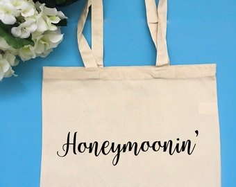 Honeymoon Tote Bag Customizable Tote Bag Bride Tote Bag Gift for Bride Engagement Gift Vacation Tote