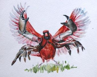 C is for Crabinal. Original Watercolor of Hybrid Alphabet Animal. Crab+Cardinal=Crabinal