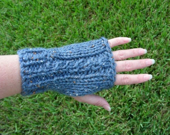 Fingerless Gloves, fingerless mittens, armwarmers blue cable hand knit