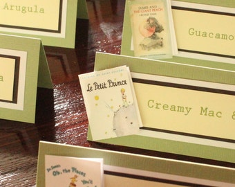 Book Theme Party Food Cards