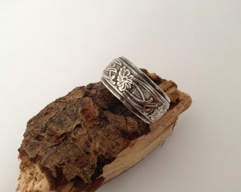 SALE Sterling silver thick band ring, hallmarked in Edinburgh