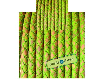 DL06402 - 0.40 meter x 6.00mm Bright Green, Vintage effect  Braided Leather Cord