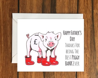 Happy Father's Day Piggy Bank, Cute, Blank greeting card A6
