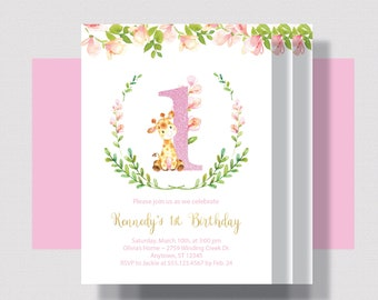 1ST BIRTHDAY INVITATION for Girl, Girls First Birthday Invitation Giraffe With Watercolor Floral 1st, 2nd, 3rd Birthday Blush Pink  and Gold