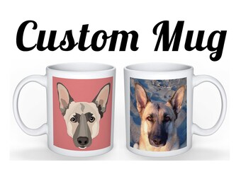 CUSTOM PET MUG | Square Portrait with Photo | Your pet on a coffee cup! | 11oz | Dog | Cat | Portrait Included | Send your favorite photo!