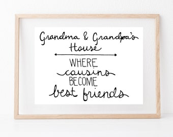 Hand lettered home wall art, print, typography gift, holiday present, bedroom home decor quote, card, mom dad grandma grandpa cousin family
