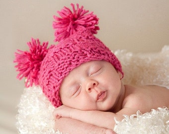 Baby Hat: Little Miss Checker Head 3-6 months in Hot Pink-Also available in white or yellow