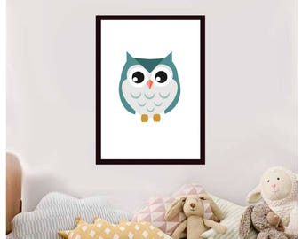 Printable wall art Digital Prints nursery cute blue owl
