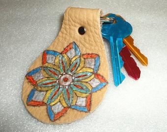 Leather Key Fob / Handmade Painted Original / Key Ring