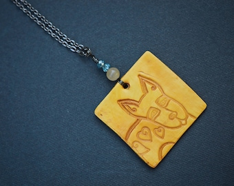 Dog Polymer Clay Necklace, Antique Copper Wire Wrapped Necklace, Polymer Clay Necklace, Animal Necklace, Orange, Square