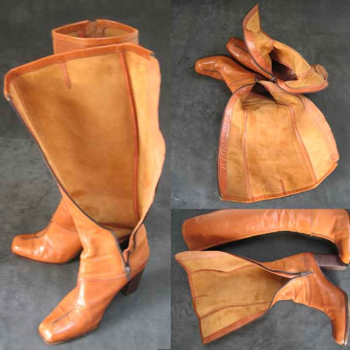 Bottes à talons en haut vintage en talons cuir couleur Caramel a89ab0