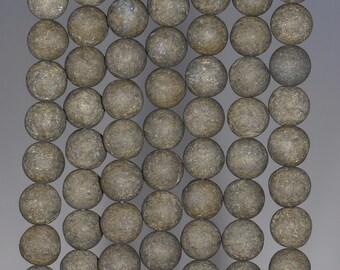 12MM Matte Pyrite Gemstones Round 12MM Loose Beads 7.5 inch Half Strand (80000655-279)
