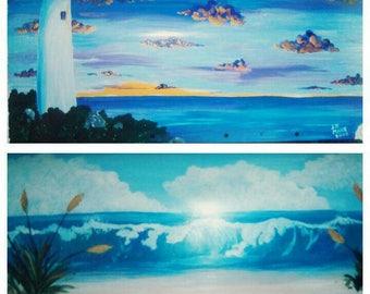 Handpainted lighthouse beach theme mailbox