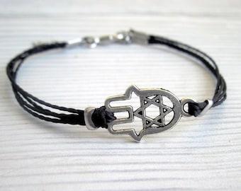 Mens Hamsa Bracelet - Men's Bracelet - Mens Black Cord Bracelet - Men's Jewelry - Bracelets For Men - Jewelry For Men - Men's Gift