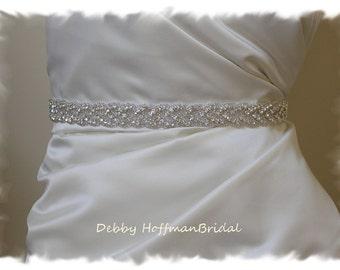 Wedding Belt, 53 Inch Rhinestone Braided Bridal Belt, Beaded Rhinestone Crystal Wedding Dress Sash, Jeweled Wedding Belt, No. 3010S-53