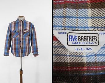 Vintage Five Brother Flannel Shirt Blue Cotton Long Sleeve Made in USA - Size Large