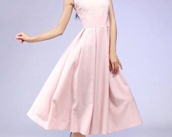Midi dress, pink dress, vintage dress, linen dress, party dress, womens dresses, sleeveless dress, summer dress, custom dress (581)
