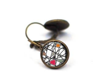 Geometric Stud Earrings, Gift for Her, Gift for Women, Stocking Stuffer for Her, Aztec Earrings, Statement Earrings, Post Stud Earrings