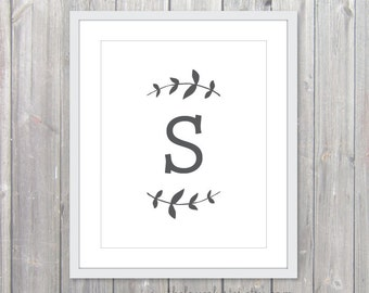 Custom Initial Letter -  Typography Art Print  -  Vine - Charcoal and White - Modern Home Decor - Wall Art