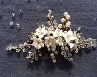 Wedding comb, bridal comb, wedding hair piece, wedding hair comb, bridal hair comb, flower hair comb, Pearl hair comb, Crystal hair comb