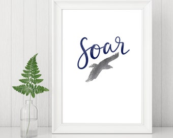 Christian Gift - Christian Wall Art - Soar (on wings like eagles) - Inspirational Quote - Bible Verse Print - Faith Print - Gifts for Her