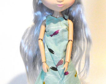 Blythe doll dress, Blythe clothing Blythe clothes, Shibajuku dress, Eclectic Wandering handmade, Blythe fish dress. Shibajuku clothes