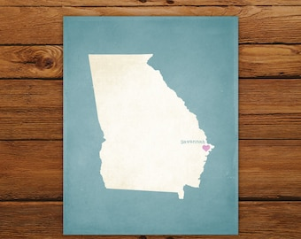 Customized Printable Georgia State Map - DIGITAL FILE, Aged-Look Personalized Wall Art