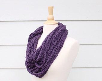 Crochet chain scarf necklace, purple necklace infinity scarf, purple chain crochet scarf, purple scarf necklace, crochet braid scarf
