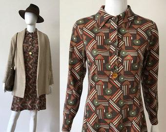 Vitos / 60s dress / 60s wool dress / long sleeve dress / geometric print dress / 60s clothing / romantic dress / butterfly collar dress