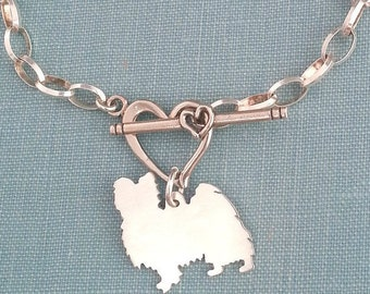 Papillion Dog Chain Bracelet, Sterling Silver Personalize Pendant, Breed Silhouette Charm, Rescue Shelter, Birthday Gift