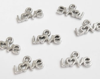 20 Tiny Love Heart charms antique silver 6.5x12mm PLFH20146Y