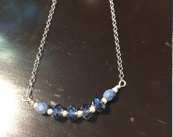 Sterling Silver925 and Blue Crystal Rondelle Necklace