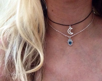Silver Crescent hollow Moon and Hamsa Choker Necklace set of two