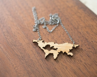World Map Necklace - Bamboo World Map Country Necklace Map Pendant Map Necklace Continent Pendant