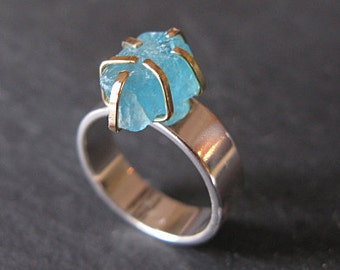 Apatite Ring Raw Gemstone Ring Size 7 1/2 18K Gold Unique Engagement Ring Rough Crystal Raw Apatite Rough Apatite Ring Statement Ring Silver