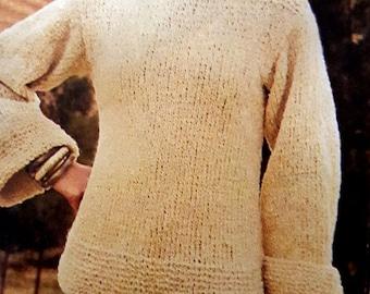 Sailor sweater pattern retro vintage, pdf instant download tutorial, winter model hippie 70's style, hand knit DIY RetroWoolCool fashion