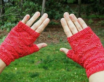 Pink Knit Fingerless Gloves  - Pink Texting Gloves - Knitted Wrist Warmers - Cute Knit Eyelet Pattern Gloves - Knit Pink Wristlets