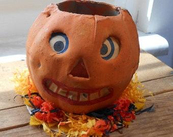 1920'S German Halloween Jack-o-Lantern - Original Face Insert