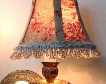 Salefrench toile chandelier lampshades black and white chandelier lamp shade in a beautiful natural and red toile fabric aloadofball Choice Image