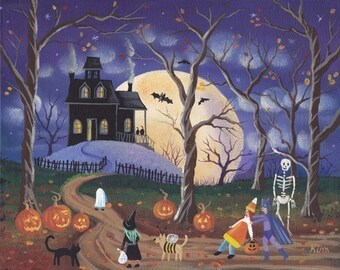Dont Be Scared! Halloween Folk Art Print